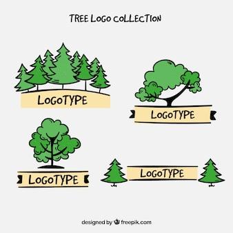 Hand drawn tree logo collection