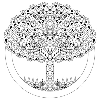 Hand drawn of tree in zentangle style