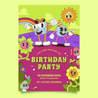 手描きのトレンディな漫画の誕生日の招待状