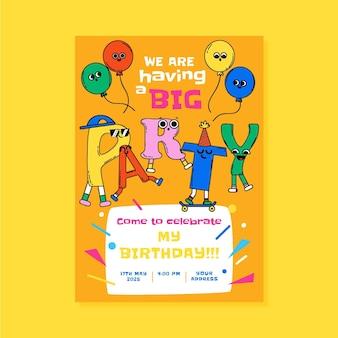 Ручной обращается модный мультфильм приглашение на день рождения