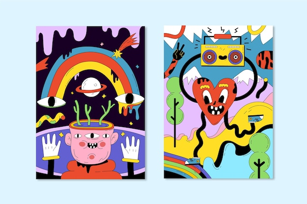 Hand drawn trendy cartoon covers collection