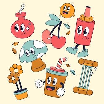 Collezione di elementi di cartoni animati alla moda disegnati a mano