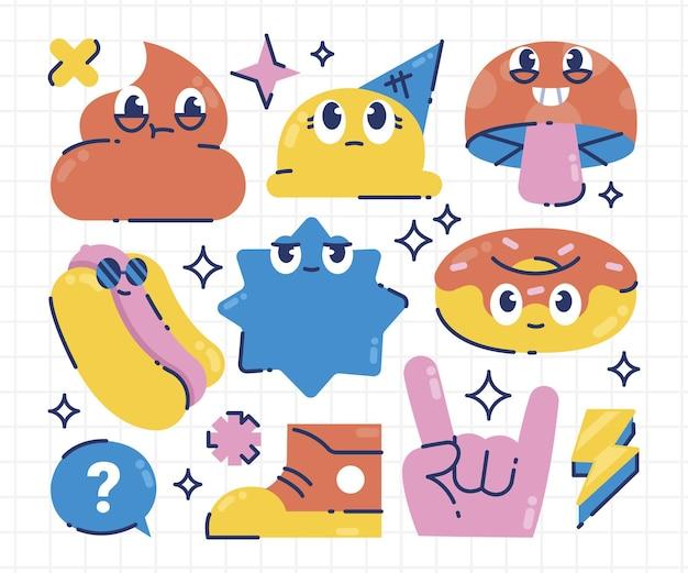 Pacchetto di elementi di cartone animato alla moda disegnato a mano