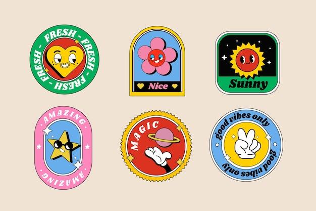 Set di etichette per cartoni animati alla moda disegnati a mano