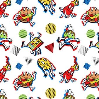 Hand drawn trendy cartoon pattern design