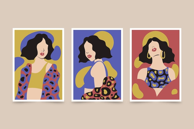 Коллекция рисованной модных портретов на обложке