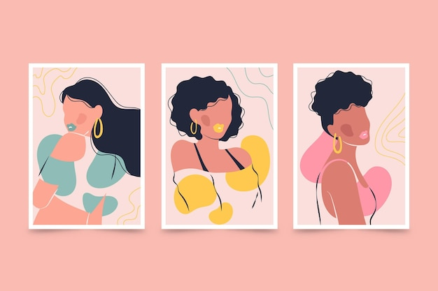 Set di copertine per ritratti di moda alla moda disegnati a mano