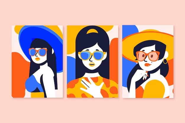 손으로 그린 유행 패션 초상화 커버 컬렉션