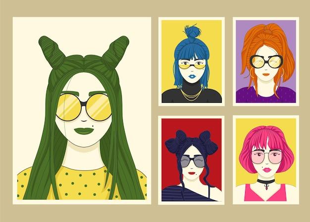 Коллекция рисованной модных портретов