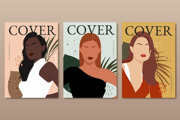 Hand drawn trendy fashion portraits covers collection