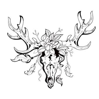 自由奔放に生きるスタイルで手描きの部族の鹿の頭蓋骨