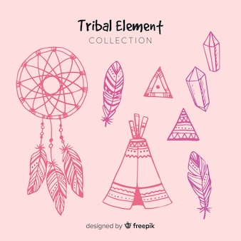 Hand drawn tribal element collection