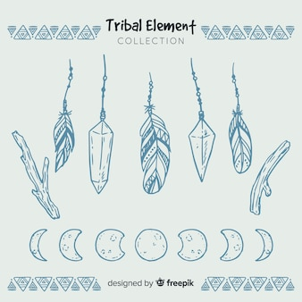 Hand drawn tribal feather collection