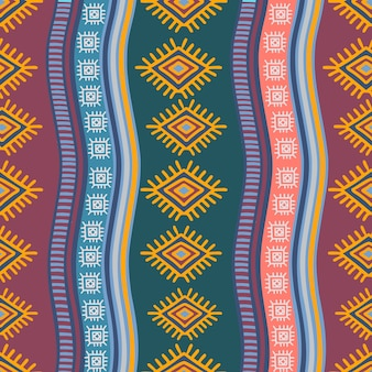 Hand drawn tribal seamless pattern with ethnic drawing style