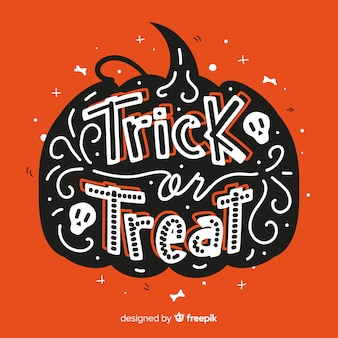 Hand drawn trick or treat lettering background