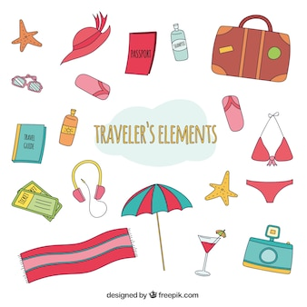 Hand drawn trip objects pack