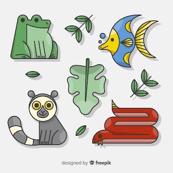 손으로 그린 열대 동물 모음