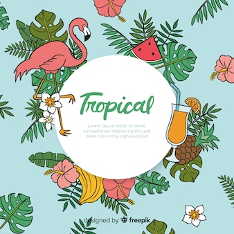 Hand drawn tropical background