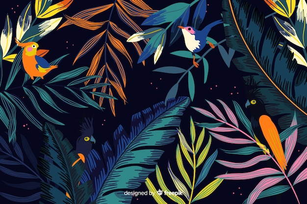 Hand drawn tropical birds and leaves background