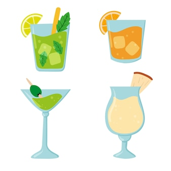 Collezione di cocktail tropicali disegnati a mano