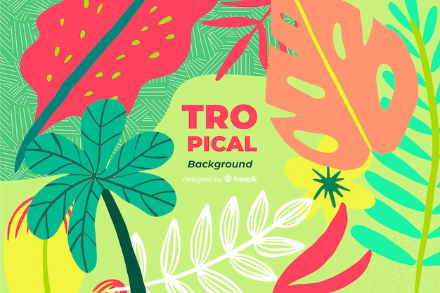 Hand drawn tropical colorful leaves background
