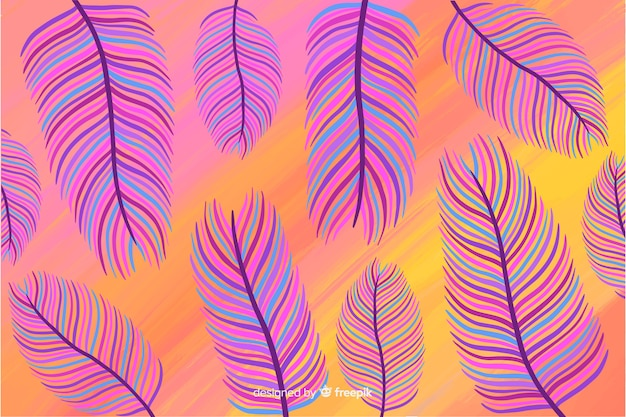 Hand drawn tropical feathers background