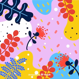Hand drawn tropical floral background