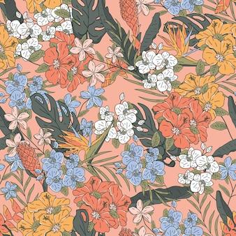 손으로 그린된 열 대 꽃 원활한 패턴