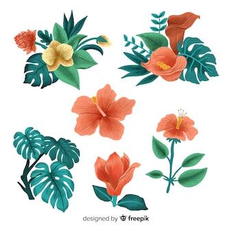 손으로 그린 열 대 꽃과 잎