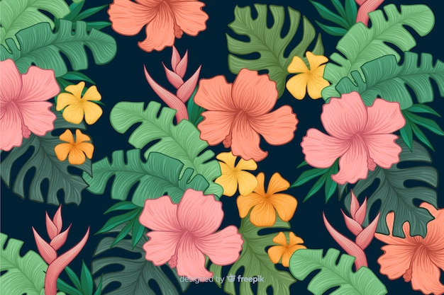 Hand drawn tropical flowers background