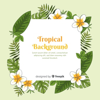 Hand drawn tropical flowers frame background
