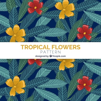 Hand drawn tropical flowers pattern background