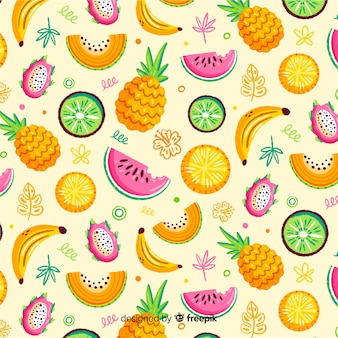 Hand drawn tropical fruit pattern