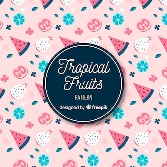 Hand drawn tropical fruits and flowers pattern