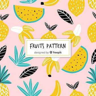 Hand drawn tropical fruits pattern