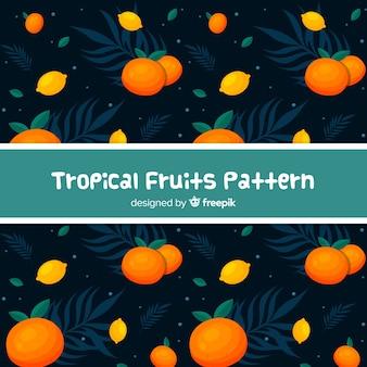 손으로 그린 열 대 과일 패턴