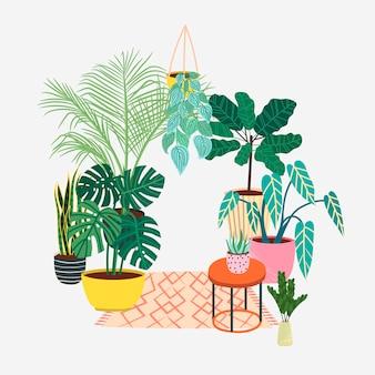 손으로 그린 열대 집 식물. 인기있는 관엽 식물 : 몬스 테라, 손바닥, 무화과 나무, 드라 세나. 스칸디나비아 스타일 일러스트, 현대적이고 우아한 가정 장식. 집 실내 식물.