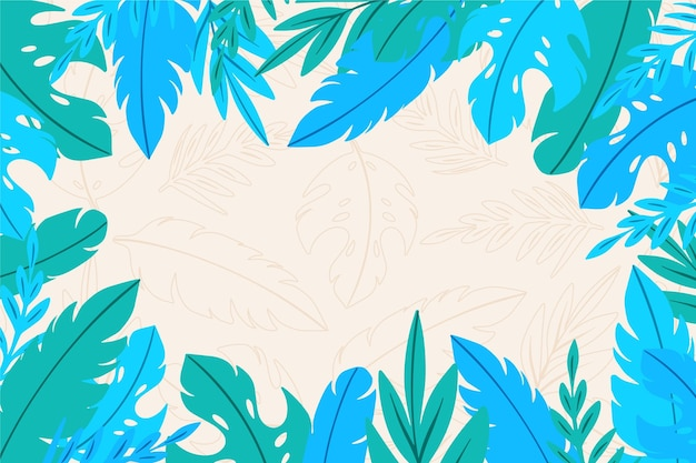 Hand drawn tropical leaves background