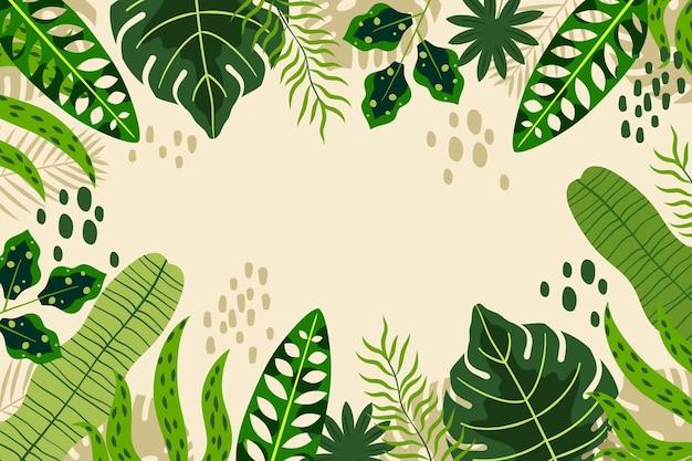Ручной обращается тропические листья фон