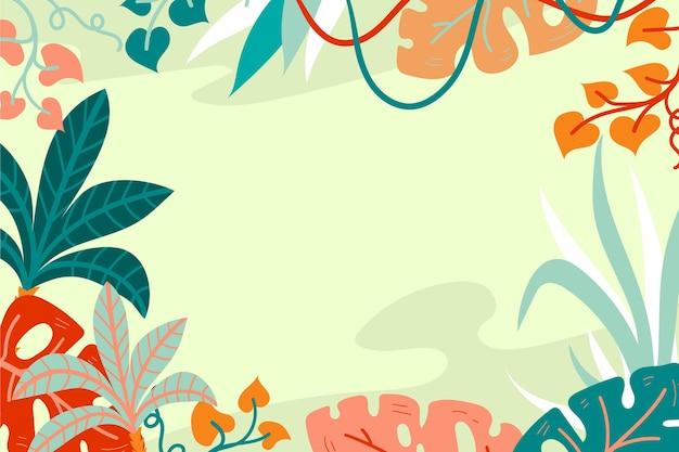 Sfondo di foglie tropicali disegnati a mano