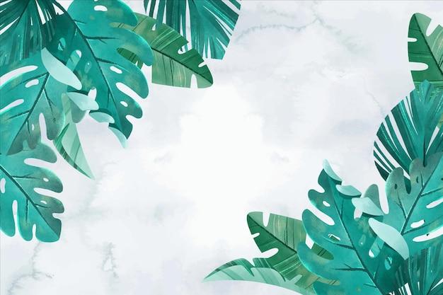 손으로 그린 열 대 나뭇잎 배경