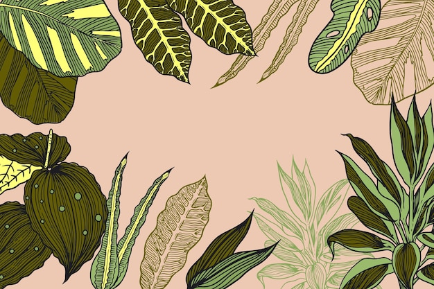 手描きの熱帯の葉の背景