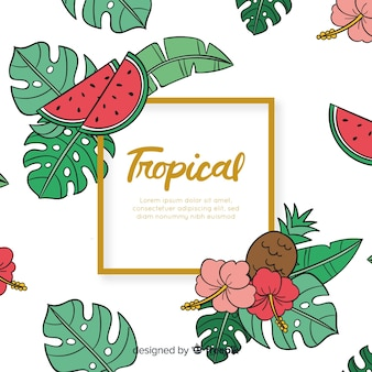 Hand drawn tropical leaves and fruits background