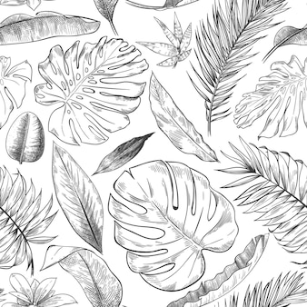 Hand drawn tropical leaves pattern. sketch drawing palm branch, monstera leaf and exotic forest plants leaf seamless background illustration.