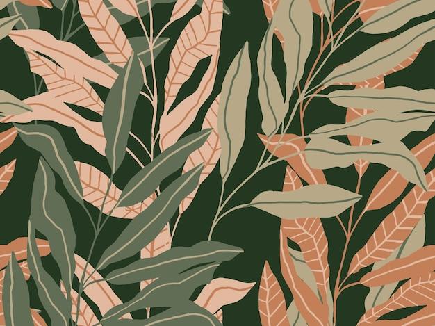 手描きの熱帯の葉のシームレスなパターンヤシの木とジャングルの背景