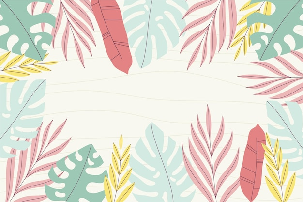 Hand drawn tropical leaves summer background