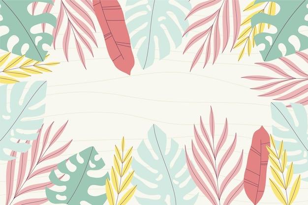 Fondo tropicale disegnato a mano di estate delle foglie