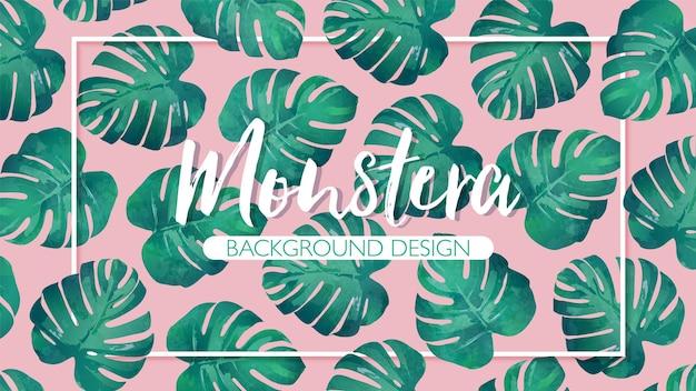 ピンクの背景にフレームと手描きの熱帯モンステラの葉