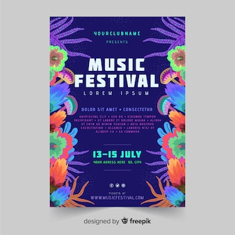 Hand drawn tropical music festival poster template