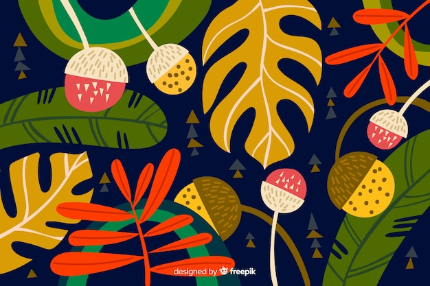 Hand drawn tropical plants background